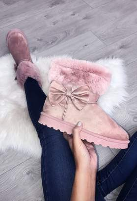 Pink Boutique Winter Princess Pink Faux Fur Lined Boot
