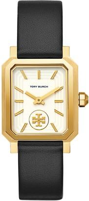Tory Burch ROBINSON WATCH, BLACK LEATHER/GOLD-TONE, 27 x 29 MM