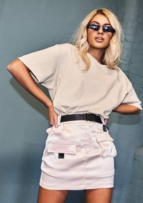 Missy Empire Missyempire Lizzie Beige Satin Feel Utility Mini Skirt
