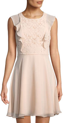 Nanette Lepore Nanette Lace-Top Sleeveless Fit-&-Flare Chiffon Dress