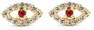 Ileana Makri Diamond, Ruby & Rose Gold Earring - Womens - Gold