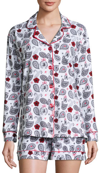 BedHeadBedhead Printed Long-Sleeve Shortie Pajama Set, Holiday