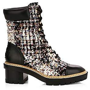 Tory Burch Women's Miller Tweed Lug Sole Combat Boots