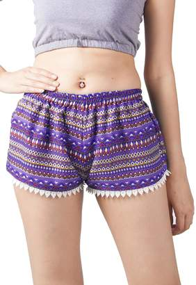 Lofbaz Women's Printed Lace Summer Shorts Blue S