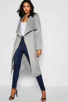 boohoo Tall Shawl Collar Belted Wool Coat