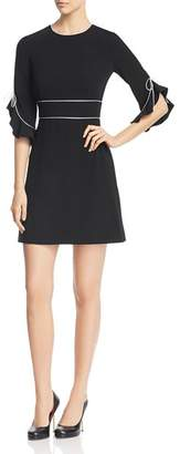 Paule Ka Piped Flared-Cuff Mini Dress