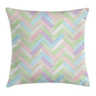 """East Urban Home Pastel Parquet Herringbone Soft Square Pillow Cover East Urban Home Size: 16"""" x 16"""""""