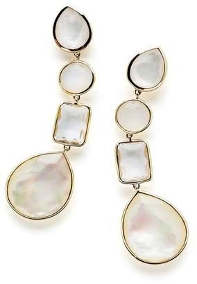 Ippolita 18K Yellow Gold Rock Candy Bezel Set Quartz & Moonstone Linear Drop Earrings