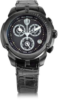 Lamborghini Tonino Shield Lady Black Stainless Steel and Black Croco Print Leather Chronograph Watch