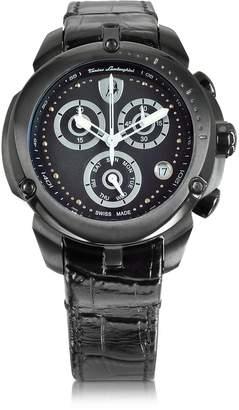 Lamborghini Tonino Shield Lady Black Stainless Steel and Black Croco Print Leather Chronograph Watch