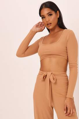 93bd87feca4 I SAW IT FIRST Sand Ribbed Square Neck Crop Top