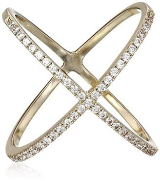 clear Lisa Freede Jewelry Large -Plated Micro Pave X Crystals Ring