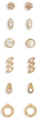 BP 6-Pack Crystal Stud Earrings