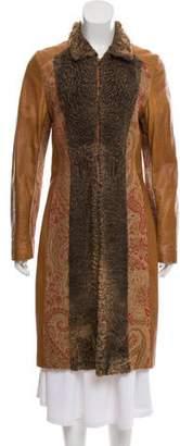 Etro Leather Brocade Coat