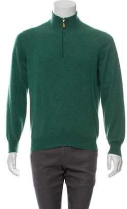 Brunello Cucinelli Wool & Cashmere-Blend Half-Zip Sweater green Wool & Cashmere-Blend Half-Zip Sweater