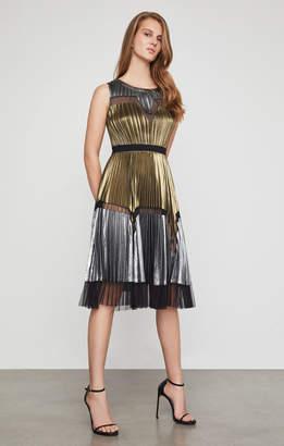 BCBGMAXAZRIA Lucea Pleated Metallic Dress