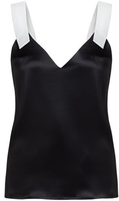 Galvan Contrast Strap Satin Cami Top - Womens - Black White