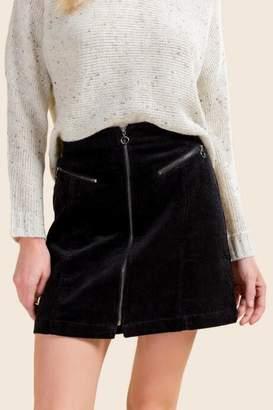 francesca's Hermosa O Ring Zipper Skirt - Black