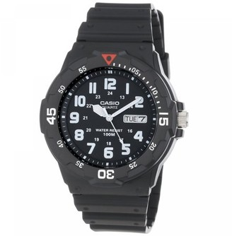 Casio Men's 43mm Analog Dive-Style Watch, Black Resin
