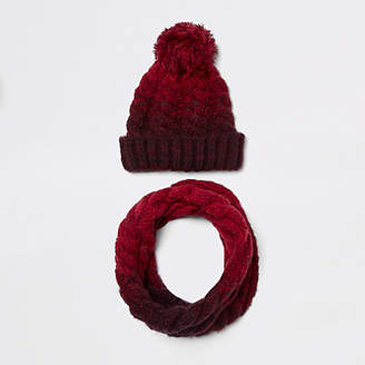 River Island Boys red ombre knit hat and snood set
