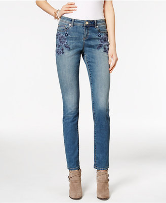 INC International Concepts Embroidered Sail Wash Skinny Jeans, Only at Macy's $94.50 thestylecure.com