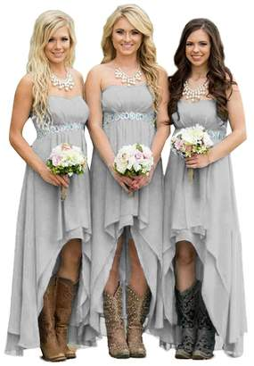 Fanciest Women' Strapless High Low Bridesmaid Dresses Wedding Party Gowns US24W