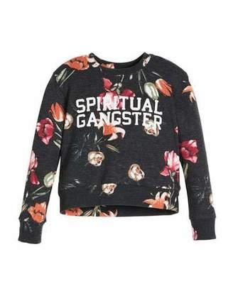 Spiritual Gangster Tulip-Print Logo Crewneck Sweatshirt, Size 6-14