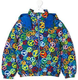 Moschino Kids peace print hooded jacket