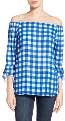 Women's Cece Off The Shoulder Check Blouse $79 thestylecure.com