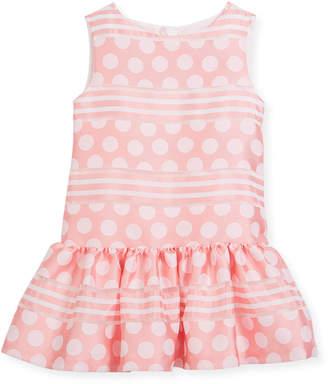 Neiman Marcus Charabia Polka-Dot & Stripe Drop-Waist Sleeveless Dress, Size 10-12