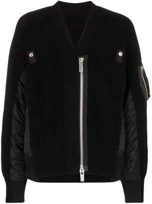 Sacai bomber jacket-style knit cardigan