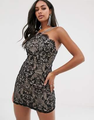 Rare London lace mini dress with diamonte straps in black