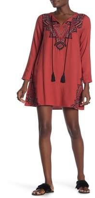 THML Split Neck Peasant Dress
