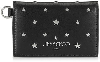 Jimmy Choo CLIFFY Black Leather Card Holder with Silver Flat Star Stud Design