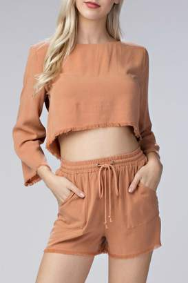 Honey Punch Raw Edge Crop Top