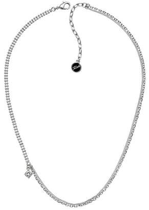 Karl Lagerfeld Rhodium Plated Mixed Chain Swarovski Crystal Accented Charm Necklace