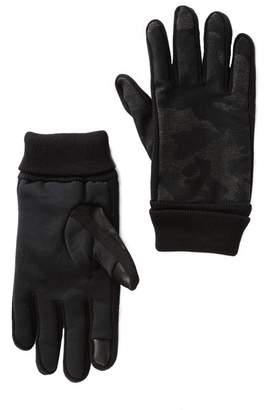 Levi's Heathered Camo Mixed Media Gloves with Faux Fur Lining