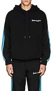 Palm Angels Men's Striped Cotton Hoodie - Black