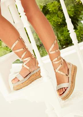 49571eb6ea2b Missy Empire Missyempire Lyric Rose Gold Diamante Vamp Espadrille Flatform  Sandals