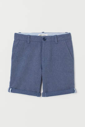 H&M Linen-blend Chino Shorts - Blue