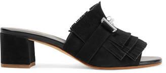 Tod's Embellished Fringed Suede Mules - Black