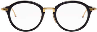 Thom Browne Black and Gold Round TB-011 Glasses