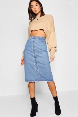 boohoo Button Through Denim Midi Skirt