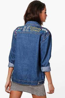 Damen Jodie Übergroße Jacke aus Denim mit Graffiti-Print in Mittelblau