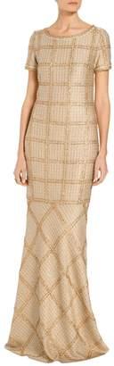St. John Goldenflag Plaid Knit Gown