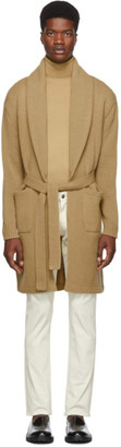 Ralph Lauren Purple Label Tan Wool and Cashmere Cardigan