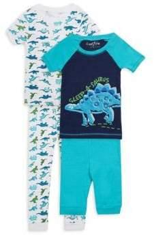 Little Boy's Four-Piece Sleep-A-Saurus Cotton Pajama Set
