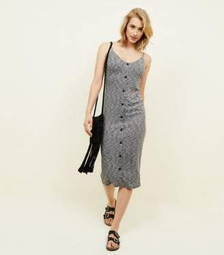 New Look Grey Marl Ribbed Button Front Midi Dress
