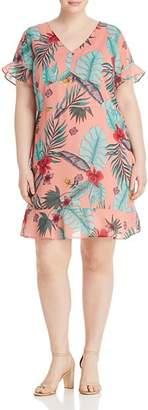 Junarose Plus Izador Botanical-Print Ruffle Dress