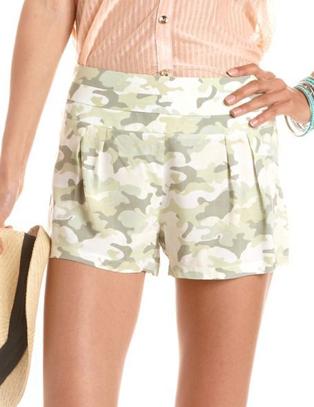 Charlotte Russe Pleated Camouflage Challis Short